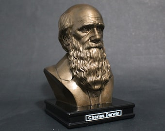 Charles Darwin 8 inch Premium Bust Solid Hand Finished Original Dated Sculpture