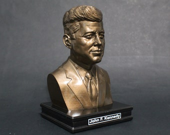 John F Kennedy JFK 8 inch Premium Bust Solid Hand Finished Original Dated Sculpture