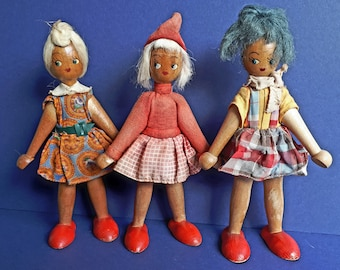 1960's Wooden Polish Folk Dolls - Hand painted features - Bright red wooden shoes - Set of Three