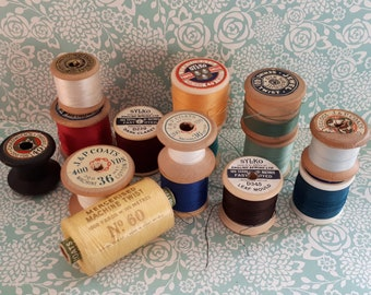 1950-1970 Collection of 15 Vintage Cotton Reels - Sylko - J & P Coats - Imperial - Includes Wooden Reels