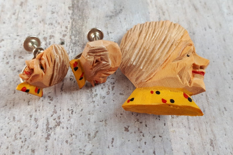 Vintage German Elderly Woman /& Man Brooch and Earrings Set Hand-carved and painted Wicked Novelty