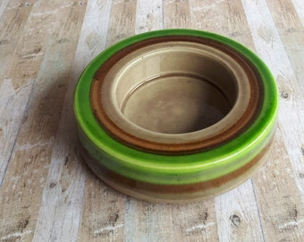 1970s Baldelli Pottery Round Green and Brown Ceramic Dish - 13/699 - Made in Italy