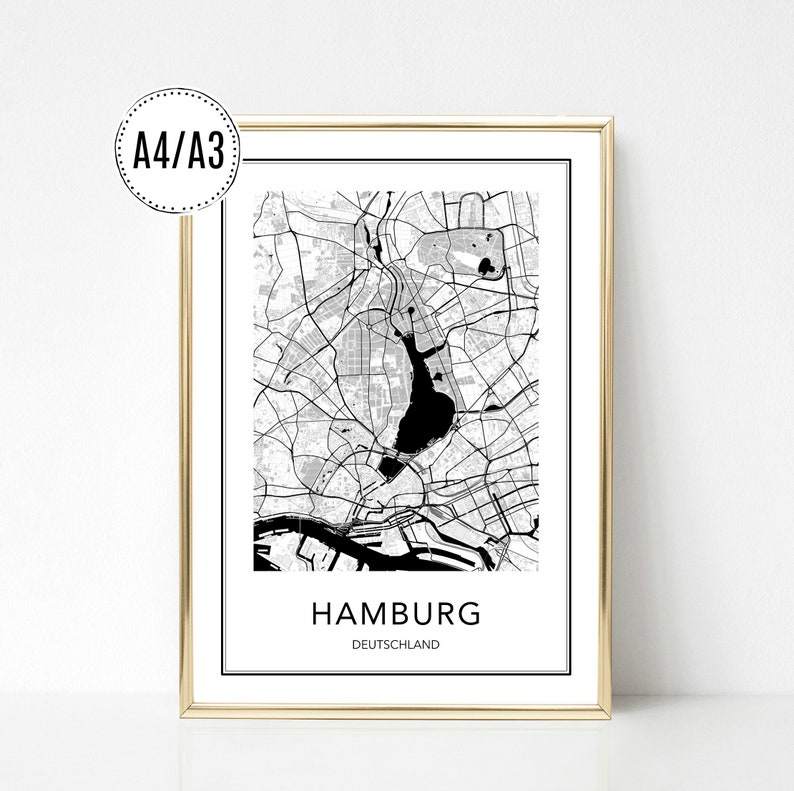 Hamburg Karte Schwarz Weiß.Posters Art Print Hamburg Cities Posters City Map Digital Print Print Black And White