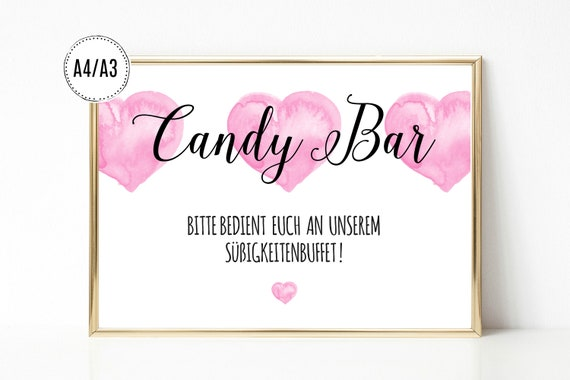 kunstdruck print digitaldruck candy bar schild aufsteller etsy. Black Bedroom Furniture Sets. Home Design Ideas