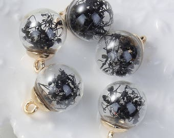 5 charms in the shape of glass and Metal Gold 2.2 cm Globe / Fleur black