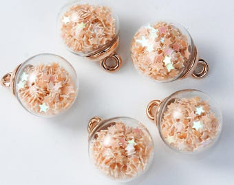 5 charms in the shape of glass and Metal Gold 2.2 cm Globe / light Orange star