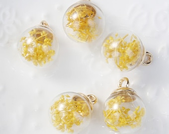 5 charms in the shape of glass and Metal Gold 2.2 cm Globe / yellow Fleur