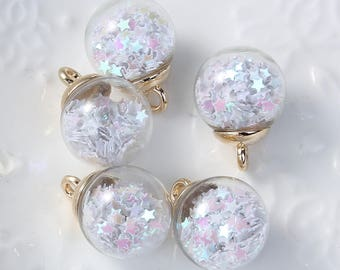 5 charms in the shape of glass and Metal Gold 2.2 cm Globe / White Star