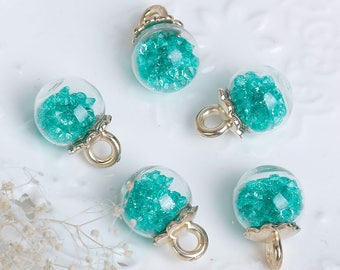 5 charms in the shape of glass and Metal Gold 2.3 cm Globe / Turquoise rhinestones