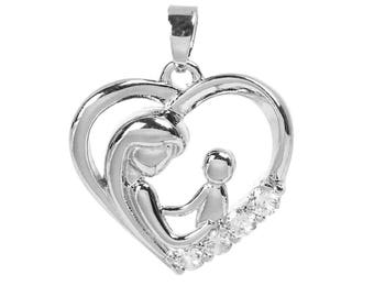 Mother and child pendant heart silver plated and rhinestone 2.5 cm / family Collection