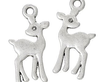 15 charms DOE / Fawn metal 21mm silver / animals