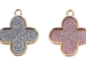 5 pendants in clover in Metal Gold and glitter 2cm / geometric