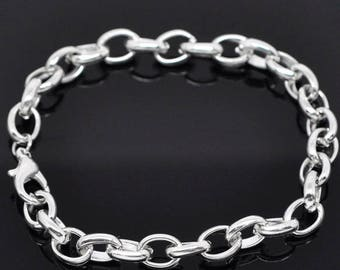 3 bracelets chain mesh convict for Charms/trinkets with silver clasp