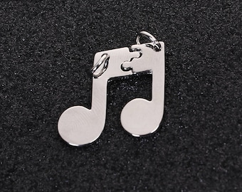 3 kits/pendants in the shape of 2.7 cm silvered Metal music Note / family Collection