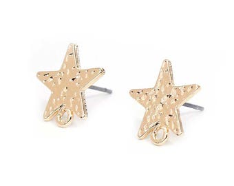 """10 support of """"chips"""" Star type 13mm gold metal hammered earrings"""