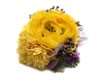 Ruby Boo Makes Modern Pin Up Yellow Ranunculus and Purple Wisteria Berries Hair Flower/Corsage 1940 1950 Gift Rockabilly Vintage Wedding