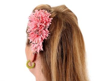 Ruby Boo makes Vintage Modern Pin Up Hair Flower/Corsage 1940 1950 Burlesque Birthday Wedding Gift Rockabilly . Pink chrysanthemum