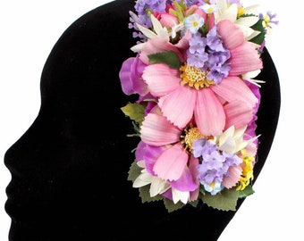Ruby Boo Makes Pin Up Hair Flower/Corsage 1940 1950 Burlesque Rockabilly Burlesque Birthday Prom Pink Japanese Anemone Hydrangea.