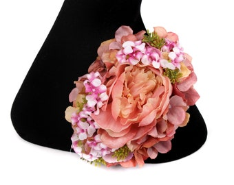 Ruby Boo Makes Pin Up Corsage/hair flower Large Pink Peony with hydrangea . Wedding Burlesque 1940 1950 Rockabilly .
