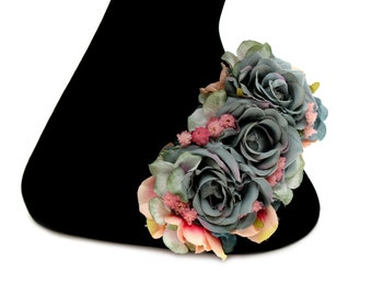 Ruby Boo Makes Pin Up Trio Teal Rose with Pink Gypsophila Flower/Corsage Burlesque Vintage  Rockabilly Wedding Gift.
