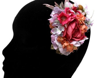 Ruby Boo Makes Hair Flower Corsage Pin Up Rose  1940 1950 pink Rose Berries Purple Blue Small Flowers