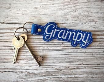 Grampy Personalised Key Fob, Handmade Embroidered Leatherette.