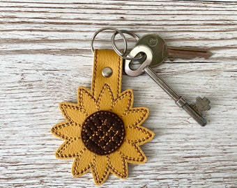 Sunflower Faux Leather Keyring