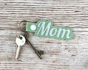 Mom Personalised Key Fob, Embroidered Faux Leather