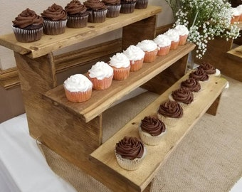 Rustic 3-tiered Wood Cupcake Holder - Party Decor - Wedding Decor - Display for Desserts