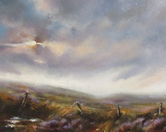 Oil painting on  Canvas. Moorland Scene,( Heather Moors above Crag Vale, West yorkshire)