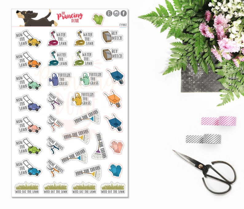 Lawn Care  decor .. Planner Stickers . ECLP . Erin Condren image 0