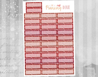Red Glitter: Quarter Boxes }} .. Planner Stickers . ECLP . Erin Condren LifePlanner™ . Functional Stickers