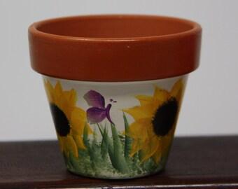 Handmade Brown Ceramic Planter with Sunflowers Artwork Plants Clay Pot