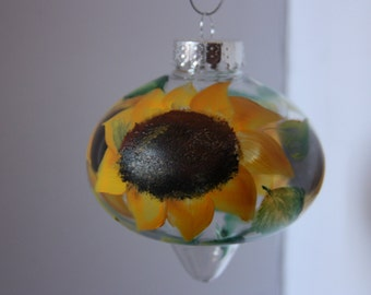 Clear hand painted Sunflower ornament, hand-painted Christmas ornament, Christmas ornament, Sunflower ornament, Sunflower