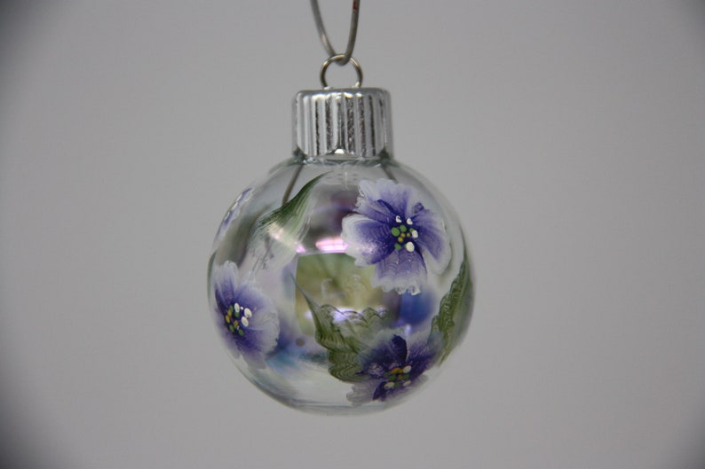 floral ornament garden lover gift garden party favor Hand painted mini glass Christmas ornament