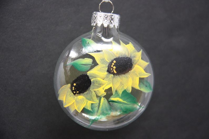 Hand painted glass Christmas ornament garden lover sunflower ornament garden party favor