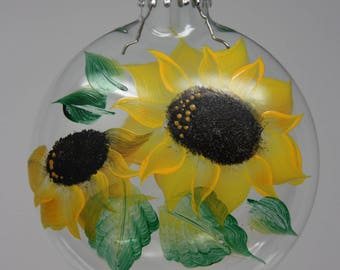 Glass Pillow ornament, sunflower hand-painted Christmas ornament, Christmas ornament, Glass Disk Christmas ornament, sunflower ornament