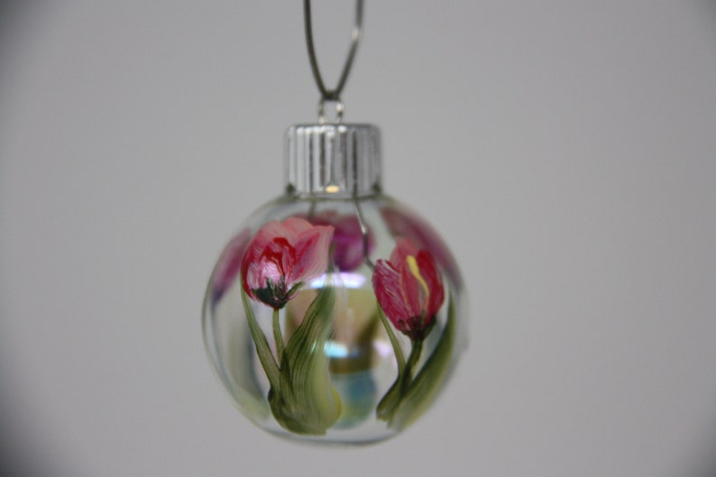 Hand painted mini glass Christmas ornament floral ornament garden lover gift garden party favor