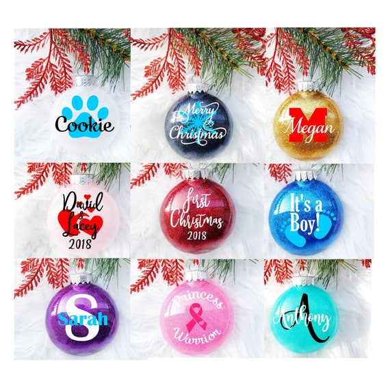Custom Christmas Ornaments.Christmas Ornaments Custom Christmas Ornaments Personalized Ornaments Glitter Ornaments First Christmas Santa Cam Monogram Ornament