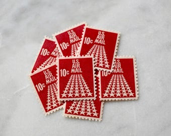 50 Stars Air Mail Postage Stamps | 10 Unused Vintage Postage Stamps | 10 Cents | 1968