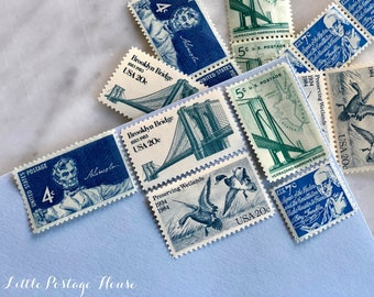 Something Blue | Vintage Stamps | Unused Postage Stamps | For 5 Letters | 56 Cents