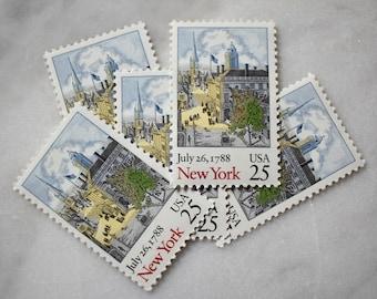 New York Postage Stamps | 10 Unused Vintage Postage Stamps | 25 Cents | 1988