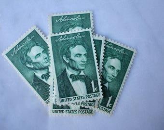 Abraham Lincoln Stamp | 10 Unused Vintage Postage Stamps | 1 Cent | 1959