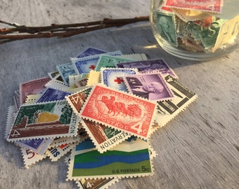 50 UNUSED Vintage Postage Stamps | 1 to 8 Cent Extra Postage