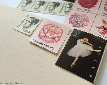 Ballerina's Love | Vintage Unused Postage Stamps | For 5 Letters | 51 Cents
