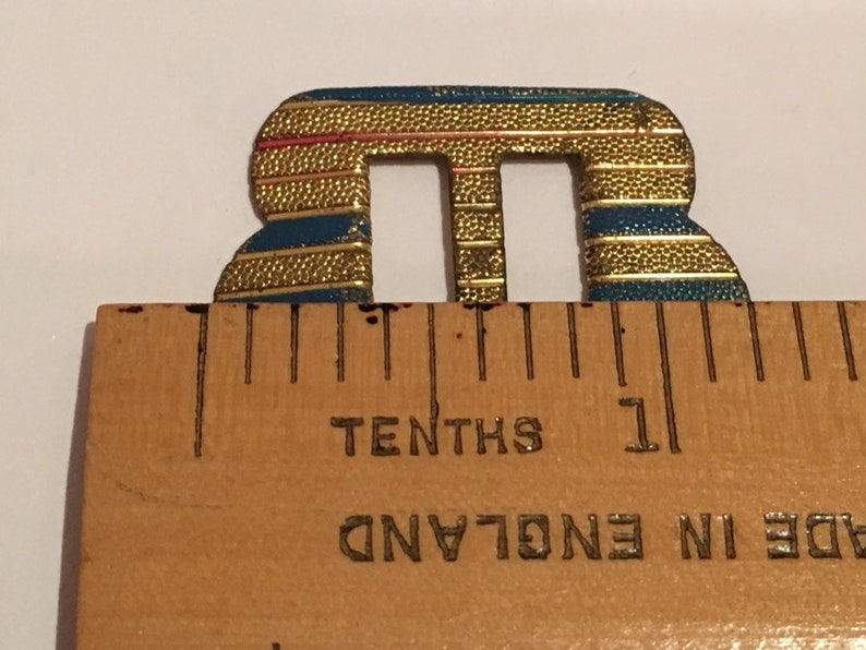 Beautiful small vintage gold tone metal slide buckle with delicate painted stripes