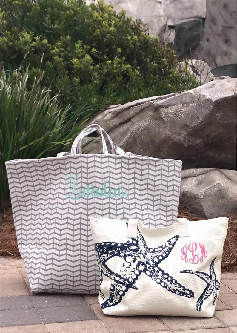 Beach Toy Family Travel Canvas Monogrammed Tote Bag Personalized Gift for her birthdays graduation mom holiday beach Bag