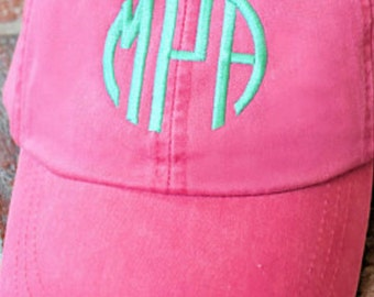 Monogrammed Baseball Cap, Woman's Hat, Pigmented Dyed Cap, Monogrammed Cap, Monogrammed Hat, Woman's Baseball Cap, Bridesmaid Cap