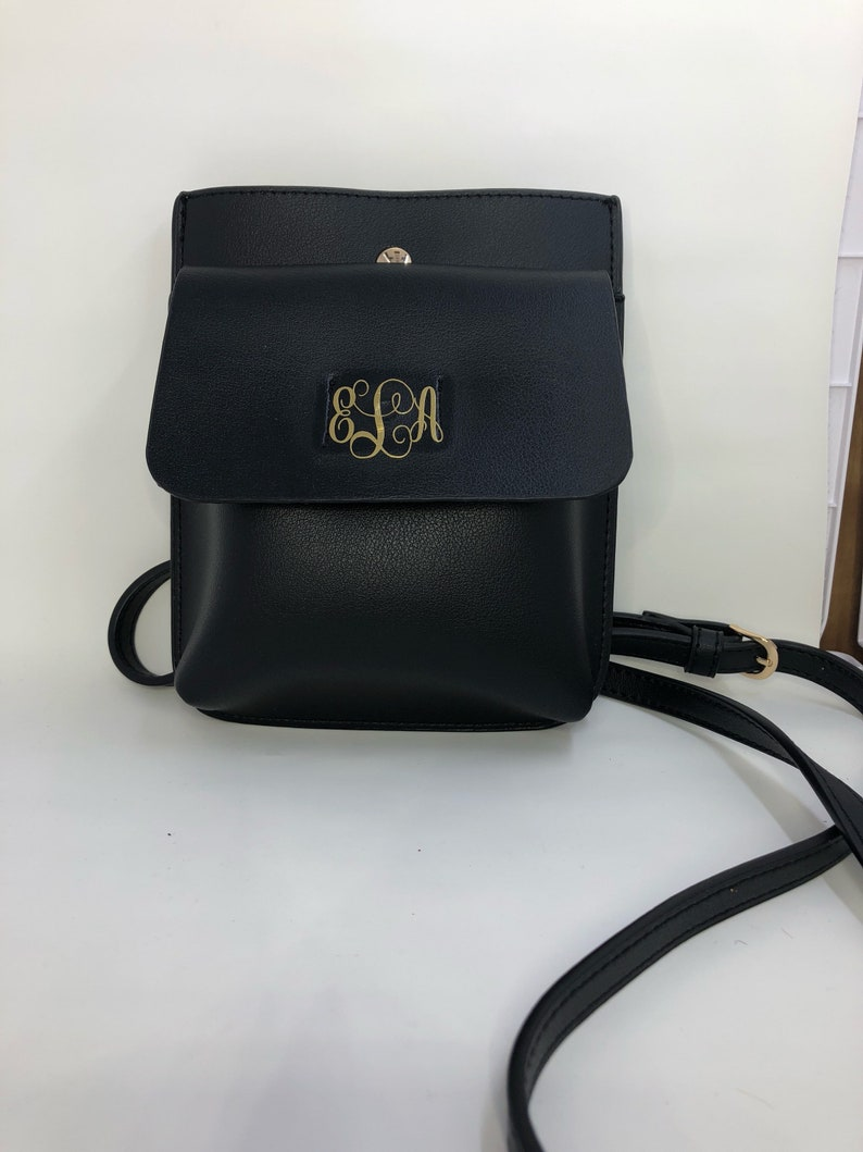 6ff459c573f Leather Monogrammed Crossbody Bag Bridesmaid Graduation | Etsy