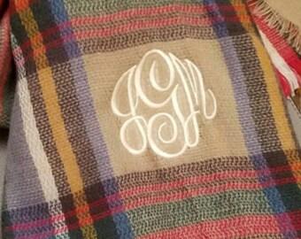 Blanket Scarf, Monogrammed Blanket Scarf, Custom Scarf, Cozy Scarf, Cozy Warm Scarf, Plaid Scarf, Monogrammed Scarf, Oversized Scarf